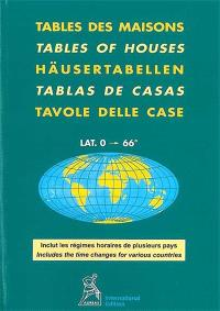 Table des maisons : lat. 0-66° = Tables of houses = Häusertabellen = Tablas de casas = Tavole delle case