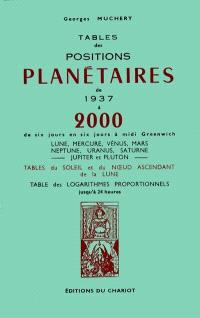 Tables des positions planétaires : 1937-2000