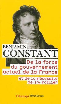 De la force du gouvernement actuel de la France et de la nécessité de s'y rallier; Des réactions politiques; Des effets de la Terreur