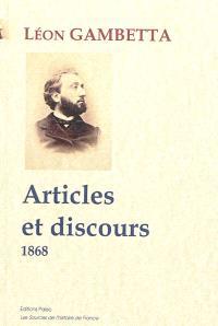 Articles et discours : 1868