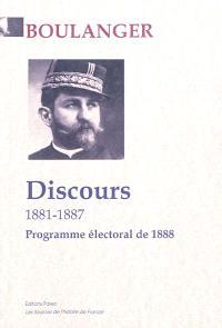 Discours : 1881-1887 : programme électoral avril 1888