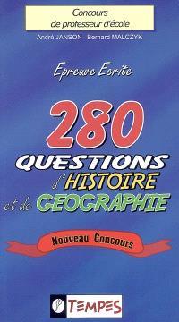 280 questions d'histoire et de géographie, épreuve écrite, concours de professeur d'école