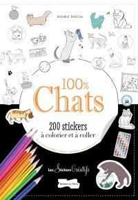 100 % chats : 200 stickers à colorier et à coller : pour personnaliser cahiers, agendas, smartphones...