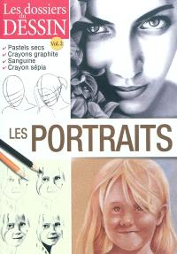 Les portraits : pastels secs, crayons graphite, sanguine, crayon sépia