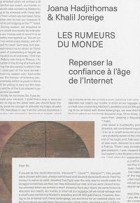 Joana Hadjithomas & Khalil Joreige : les rumeurs du monde : repenser la confiance à l'âge de l'Internet