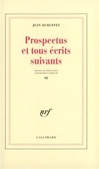 Prospectus et tous écrits suivants. Volume 3
