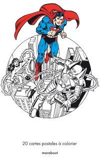 Super-héros DC Comics : 20 cartes postales à colorier
