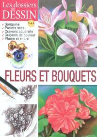 Fleurs et bouquets : sanguine, pastels secs, crayons aquarelle, crayons de couleur, plume et encre