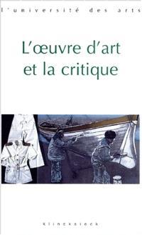 L'oeuvre d'art et la critique