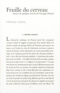 Feuille du cerveau : autour de quelques oeuvres de Giuseppe Penone