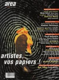 Area revue. n° 21, Artistes, vos papiers
