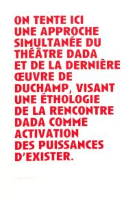 Duchamp, le regardeur et la scène de l'art : un théâtre dada. Suivi de Manifeste(s) pour un théâtre rastaquouère