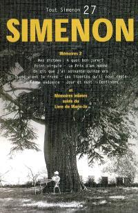 Tout Simenon. Volume 27, Mémoires 2