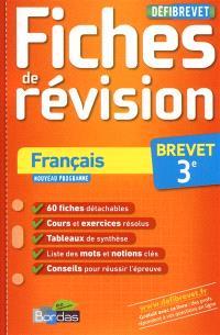 Français, 3e brevet : fiches de révision