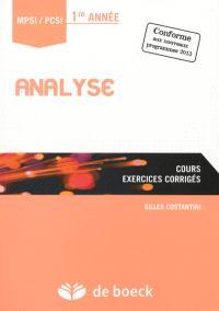 Analyse : cours, exercices corrigés : MPSI-PCSI, 1re année
