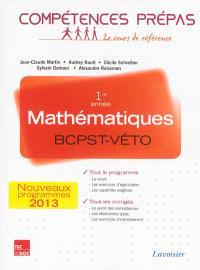 Mathématiques 1re année, BCPST-Véto : nouveaux programmes 2013
