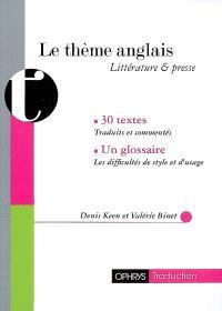 Le thème anglais : littérature & presse