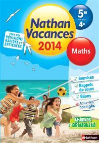 Nathan vacances 2014, de la 5e vers la 4e : maths
