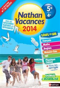 Nathan vacances 2014, de la 5e vers la 4e : tout en un