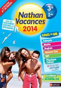 Nathan vacances 2014, tout en un, de la 3e vers la 2de