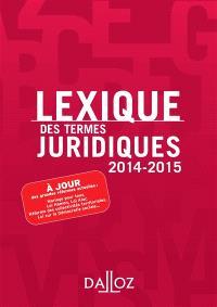 Lexique des termes juridiques 2014-2015