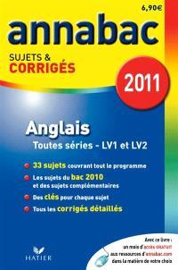 Anglais, séries L, ES, S (LV1 et LV2), séries technologiques (LV1 et LV2)