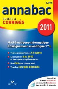 Mathématiques informatique 1re L, enseignement scientifique 1re L