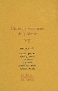 Etats provisoires du poème. Volume 7