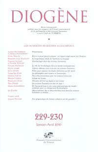 Diogène. n° 229-230, Les sciences humaines aujourd'hui