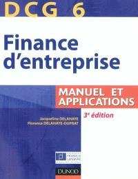 Finance d'entreprise, DCG 6 : manuel et applications