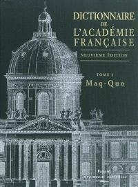 Dictionnaire de l'Académie française. Volume 3, Maq-Quo