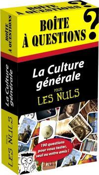La culture générale pour les nuls : boîte à questions : 190 questions pour vous tester, seul ou entre amis !
