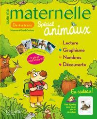 Toute ma maternelle spécial animaux, de 4 à 6 ans, moyenne et grande sections : lecture, graphisme, nombres, découverte : mon cahier d'activités