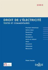 Droit de l'électricité : textes et commentaires
