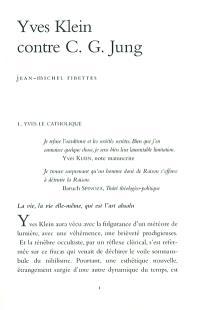 Yves Klein contre C.G. Jung : la grande bataille de l'Incarnation contre la marée noire de l'occultisme