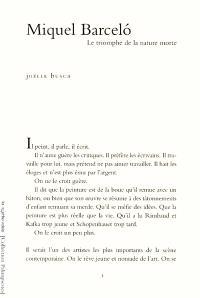 Miquel Barcelo : le triomphe de la nature morte