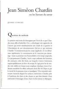 Jean Siméon Chardin ou Les saveurs du savoir