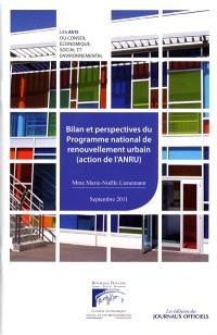 Bilan et perspectives du programme de renouvellement urbain : action de l'ANRU