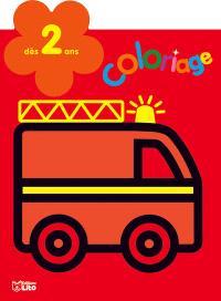 Le camion de pompier : coloriage : dès 2 ans
