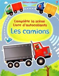 Les camions : complète la scène, livre d'autocollants
