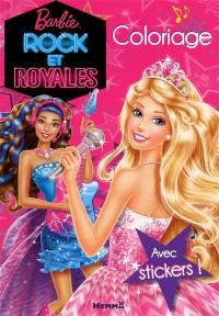 Barbie rock et royales : coloriage : avec stickers !