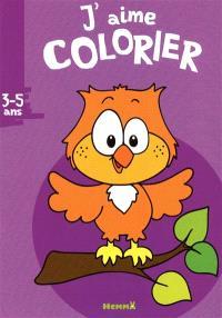 J'aime colorier, 3-5 ans : hibou