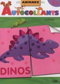 Les animaux en autocollants : les lettres : couverture dinosaure
