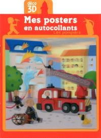 Les pompiers : mes posters en autocollants