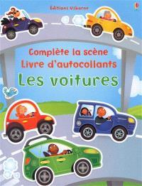 Les voitures : complète la scène, livre d'autocollants