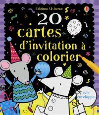 20 cartes d'invitation à colorier : avec enveloppes