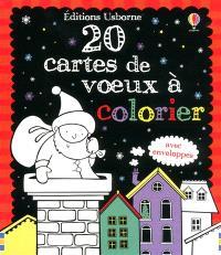 20 cartes de voeux à colorier : avec enveloppes