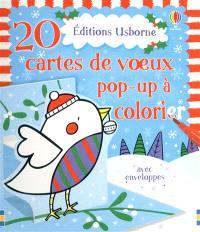 20 cartes de voeux pop-up à colorier : avec enveloppes