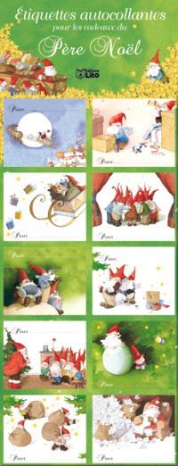 Etiquettes autocollantes pour les cadeaux du père Noël : vertes