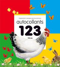 J'apprends à compter avec les animaux : 123 autocollants : 3-6 ans